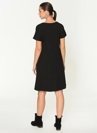Loves You Cep Detaylı Likra Supreme Elbise Siyah